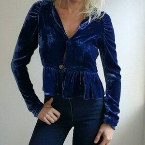 Revolve couture silk midnight blue velvet blouse s