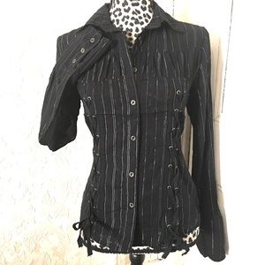Mur Mur Anthropologie Black Button Down Blouse