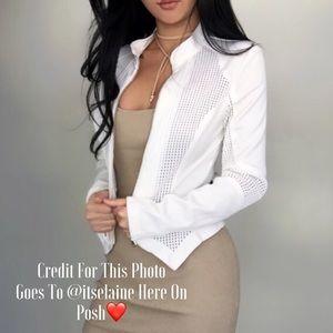 Fashion Nova Jackets & Blazers - • Ekattire Ivory/White Mesh Zip Jacket