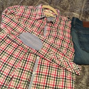 Plaid button down with patch elbows size 4