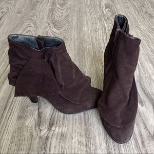 Aldo Shoes - Brown Suede Flounce Bow Booties