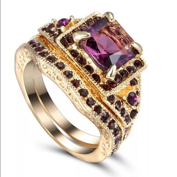 Jewelry Purple Square Gold Puzzle Piece Ring Set Poshmark