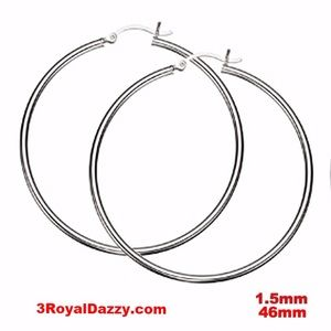 3 Royal Dazzy Jewelry - Silver Round Hinged Hoop Earrings - 1.5mm 46mm