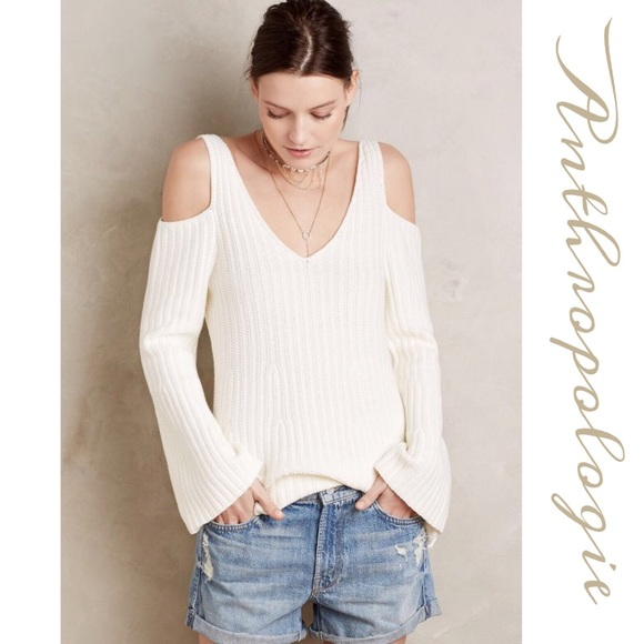 52d4db0f3 Anthropologie Sweaters | Ivory Cold Shoulder Sweater | Poshmark