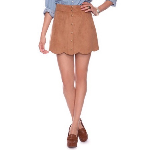 5c12408a2 Forever 21 Skirts | Suede Scalloped Button Skirt | Poshmark