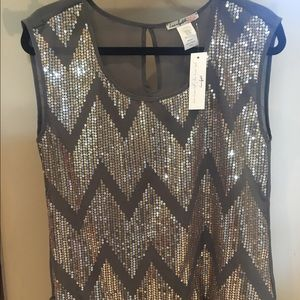 NEW grey gold top size S