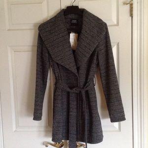 Jackets & Blazers - Melange large shawl collar with tie belt