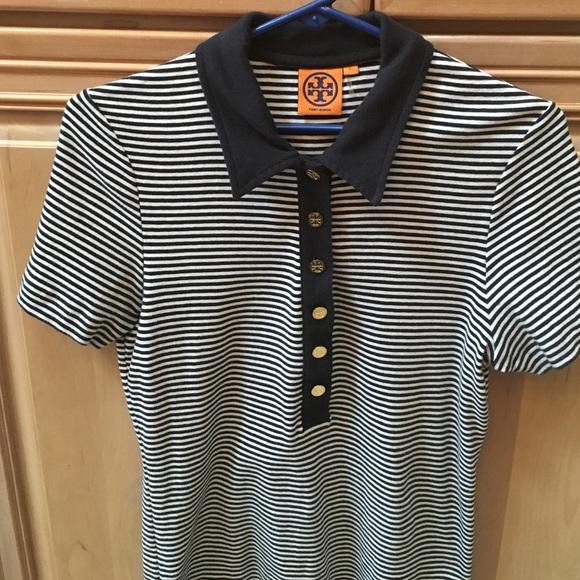 badc9172bca8 Tory Burch Renna navy striped cotton polo. M 57f41dae4225beeb540109e0