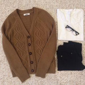 Camel knit cardigan sweater