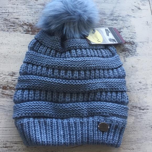 Angela   William Blue Pom Pom Beanie Hat 9a69ca04a55e