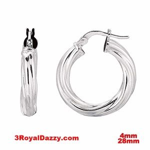 3 Royal Dazzy Jewelry - Twisted Polish Hoop Earring  Silver -4mm28mm
