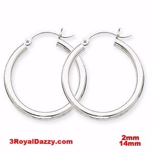 3 Royal Dazzy Jewelry - Plain Round Hoop Earrings Silver - 2mm 14mm