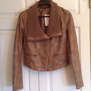 Jackets & Blazers - Faux distressed leather with sweater knit collar