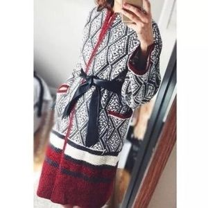 Zara Jackets & Blazers - Zara Red Black & White Jacquard Cardigan Long Coat