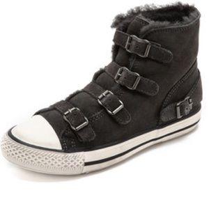 Ash fur/suede sneaker