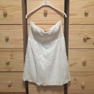 Floral Lace Eyelet Strapless Dress