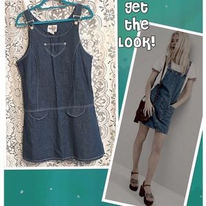 Chambray Dress Overalls Pinafore Coverall Denim Lg