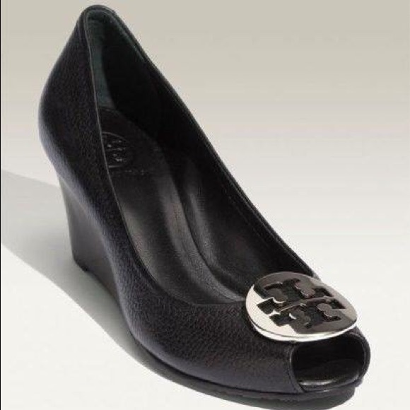 b6d15c714bb7 Tory Burch Black Leather Sally 2 Peep Toe Wedge. M 57f43cb0eaf030d6170014ed
