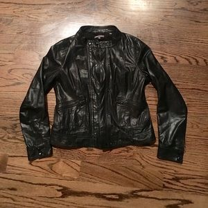 Black Vince Leather Moto jacket
