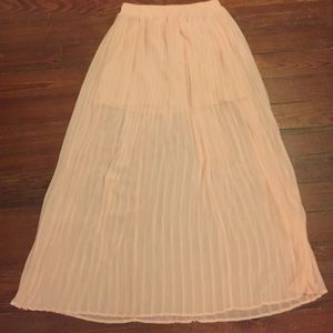 Pink sheer pleated high waisted maxi skirt