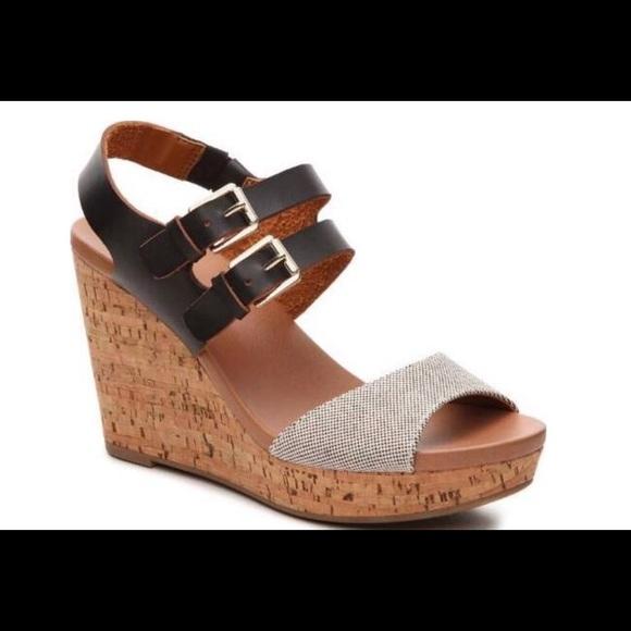 DR. SCHOLLS Advanced Comfort Black Wedge Sandals Size 11