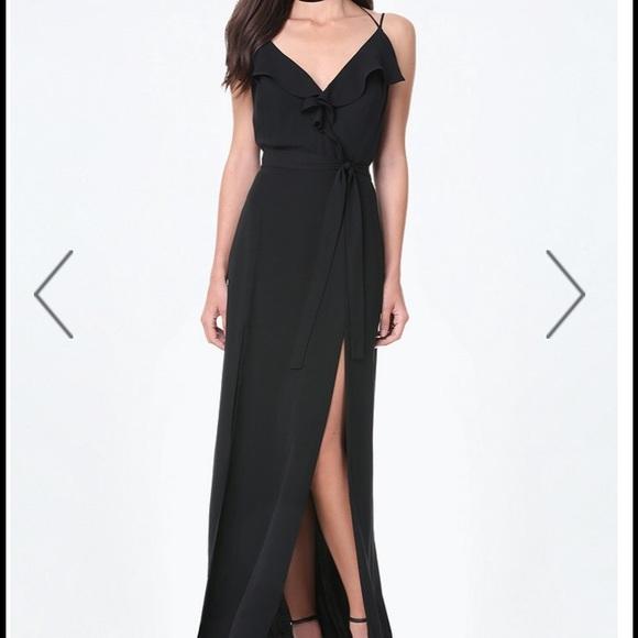 a3869b22fe bebe Dresses & Skirts - Bebe Black Double Slit Ruffle Maxi Dress