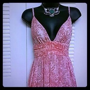 Pink & white maxi dress