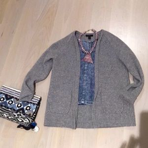 J. Crew Sweaters - Gray J crew open front wool sweater w/pockets!