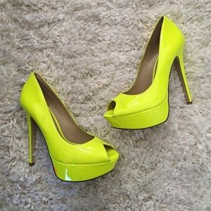 Aldo-Platform Peep Toe Pumps-Neon Yellow-Size 38