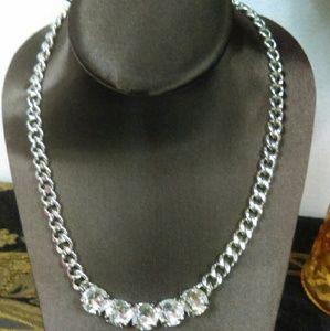 BNWOT Silvertone Rhinestone Chain Necklace