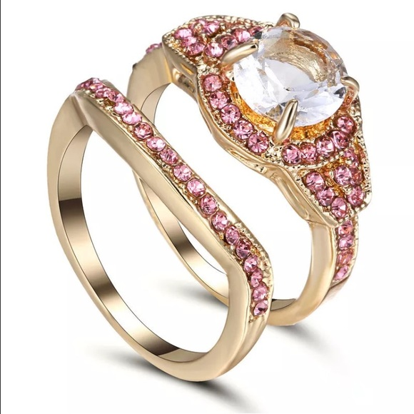 Jewelry White Gem Round Puzzle Piece Wedding Ring Set Poshmark