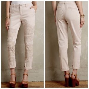 Anthropologie Pants - Anthro Pilcro White Lace Patch Hyphen Chino Capri