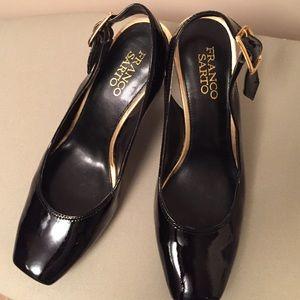Black patent Franco Sarto slingback shoes