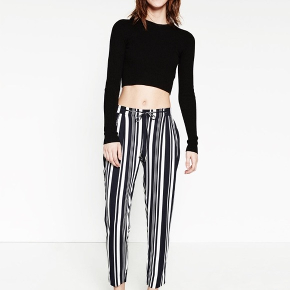 4414f4a2 Zara Pants | Striped Drawstring Trousers | Poshmark