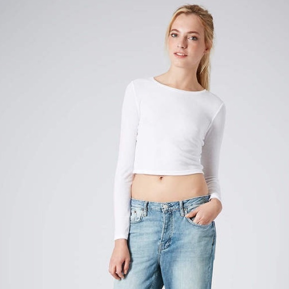 fdd8e3336f624a TopShop White Ribbed Long Sleeve Crop Top Sweater.  M_57f45856620ff73fdd001a62
