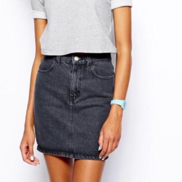 American Apparel - American Apparel High WaIsted Black Denim Skirt ...