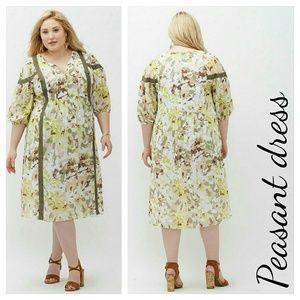 Lane Bryant Dresses & Skirts - Lane bryant printed peasant dress 2x 3x leaf camo