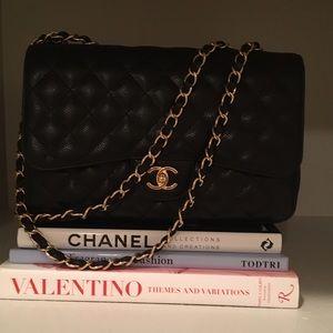 Authentic Chanel single flap, caviar leather jumbo