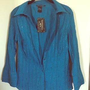 Turquoise long sleeve blouse