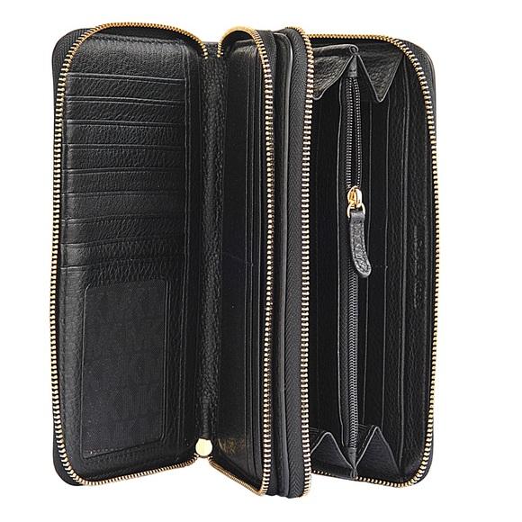 a75ab72ebbba Michael Kors Adele Black Leather Double Zip Wallet.  M 57f46abaf739bcbdc5006932