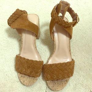 Modcloth cork ankle strap sandal block heel