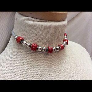 Jewelry - Red glass trolls  jersey choker necklace new
