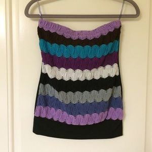 Poetry Tops - Purple Teal Black Sweater Knit Front Tube Top