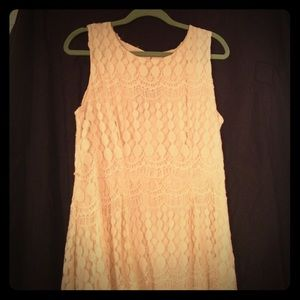 Cream crochet high-low hem dress