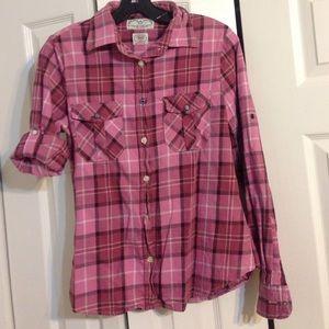Tops - Pink plaid shirt Sz L from Super Bad Shirt