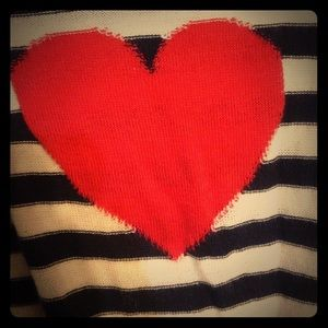 Sweaters - *Sold* Heart elbow patch stripe cardigan sweater