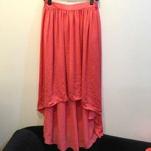 Zara Orange High Low Skirt