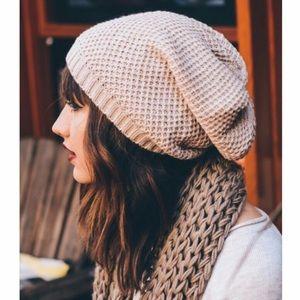 $10 Knit beanie slouch cream tan brown hat