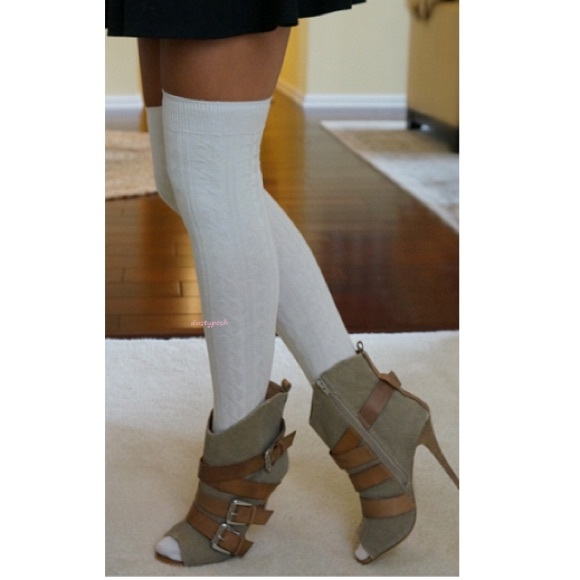 d7a832f83 Cable Knit Over The Knee Socks Thigh High Cuff OTK