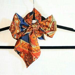 Vintage Accessories - Vintage Silk Scarf or Silk Hair Tie with Pattern